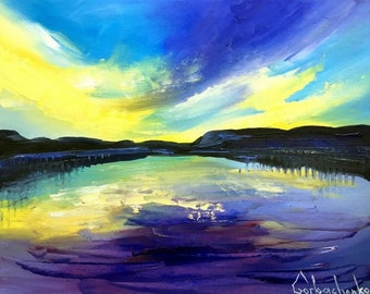 Sunset Painting Original Oil Painting Small Painting by Tetiana