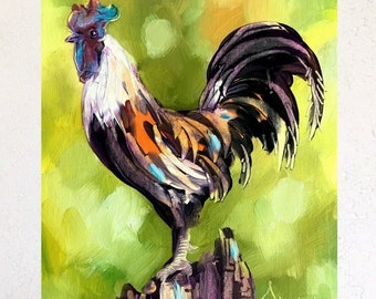 Rooster Original Oil Painting by Tetiana.Room Decor,Kitchen Decor,Farmhouse decor,Rooster Painting,Rooster Wall Art,Rooster decor