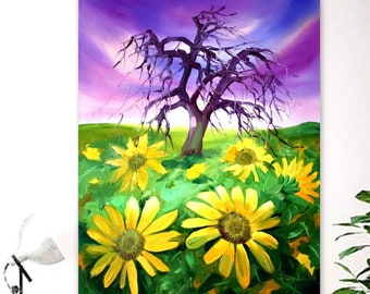 Sunflower field painting, Oil painting landscape, Original oil painting ,Sunflower art ,Sunflower painting ,Wall art ,Canvas painting