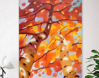 Autumn painting, Original oil painting, Handmade painting, Painting of tree, Landscape, Oil on canvas by Tetiana