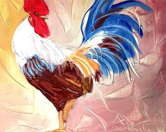 Rooster Painting Original Oil Painting Chicken  Painting Farm Animal Abstract Painting by Tetiana