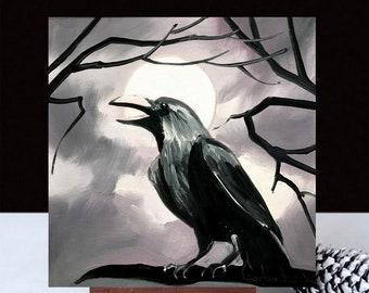 Raven wall art, artwork, original oil painting, raven painting, ravens, crow, birds, bird