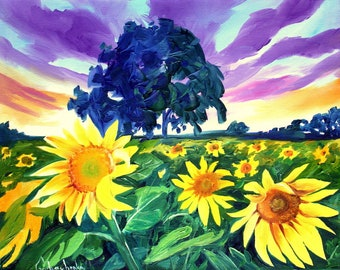 Sunflower field, Painting, Oil painting landscape, Original oil painting ,Sunflower art ,Sunflower painting ,Wall art ,Canvas painting