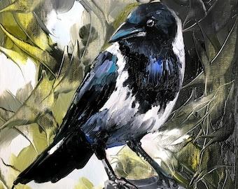 Magpie Bird Original Oil Painting by Tetiana