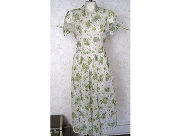 1940s Vintage Dress / Sheer Paisley Print 40s 50s Day Dress