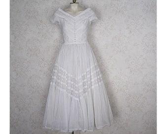 12a07aee5138 Vintage Wedding Dress / 1950s White Cotton Eyelet Dress / Vintage Fit &  Flare Summer Wedding Dress