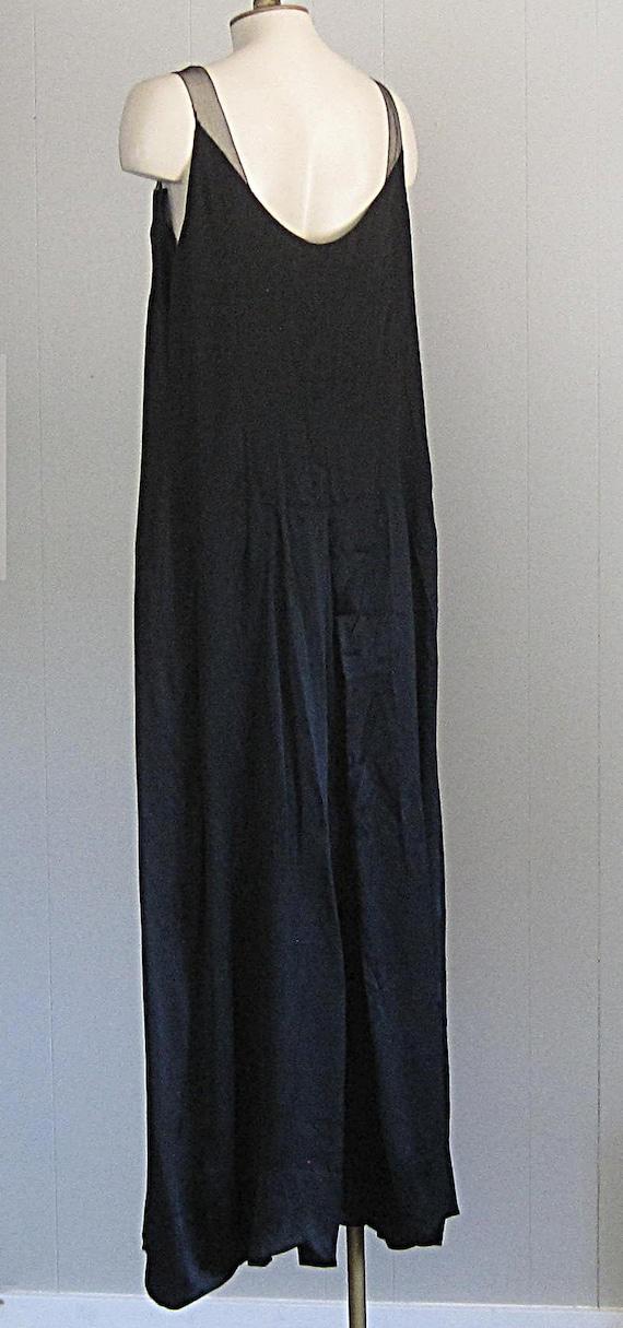 1920s Black Silk Dress / Floor-length '20s Gown W… - image 4