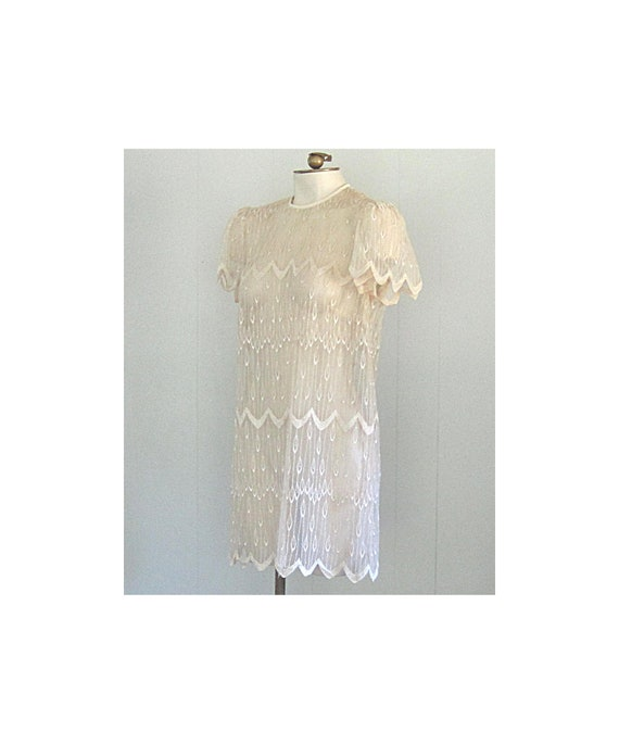Vintage 90s Babydoll Dress / 1990s Grunge Lace and