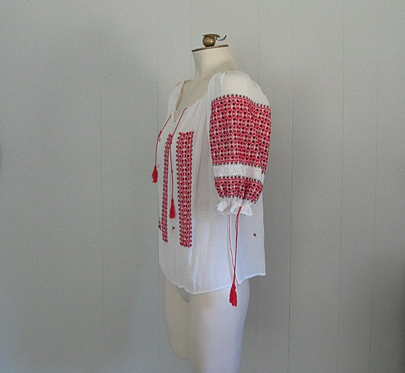 Vintage Romanian Peasant Blouse / White Red and B… - image 3
