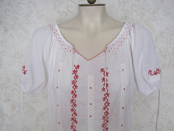 Vintage Hungarian Peasant Blouse / Embroidered Wh… - image 1