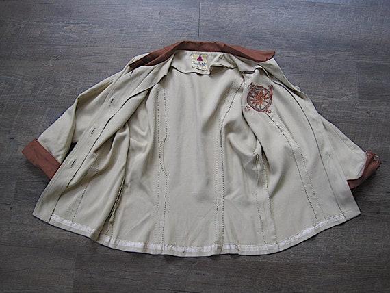 1940s Vintage Gabardine Blouse Embroidered Nautic… - image 7