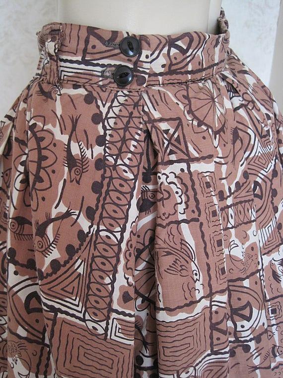 1950s Full Cotton Circle Skirt / Vintage Hawaiian… - image 9