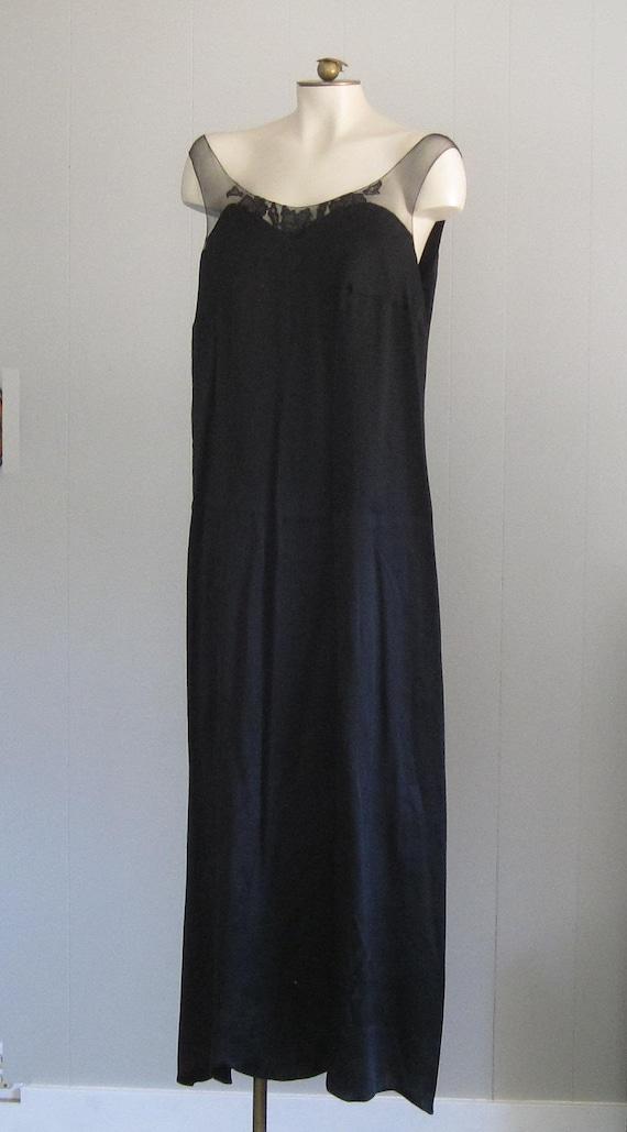 1920s Black Silk Dress / Floor-length '20s Gown W… - image 9