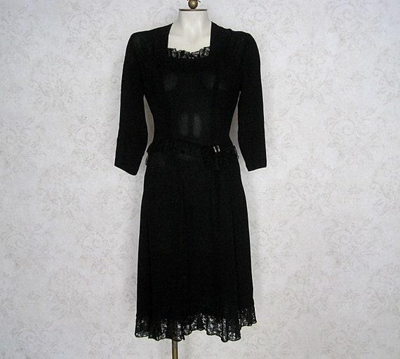 1930s Black Rayon Dress With Lace Trim / Vintage '