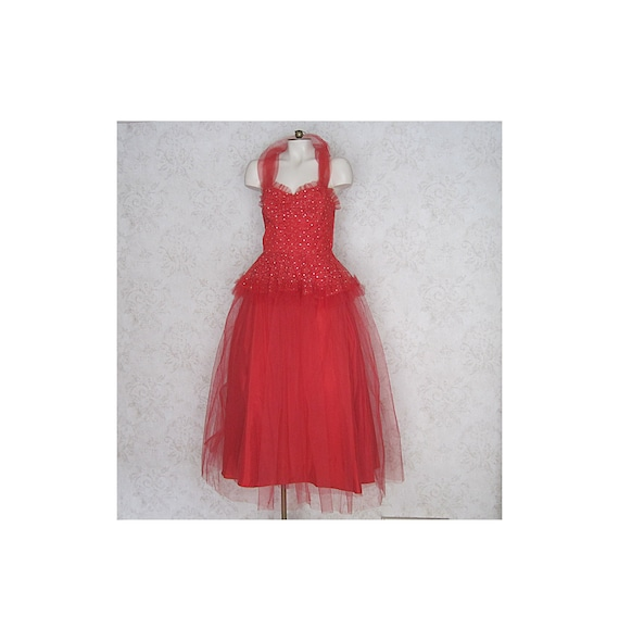 1950s Vintage Party Dress / Red Tulle '50s Cocktai