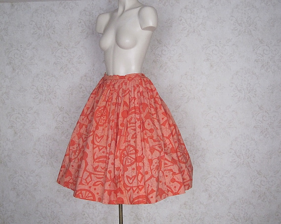 1950s Vintage Novelty Print Full Skirt / '50s Hawa