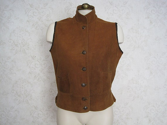 Vintage Suede Leather Vest / 1930s Buckskin Leathe