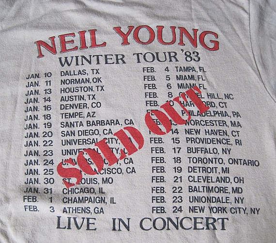 1980s Vintage Neil Young Shirt / 1983 Neil Young a