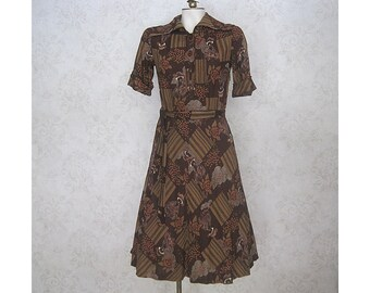 70s Vintage People Print Shirtwaist Dress / 1970s Figura Finland Novelty Print Dress / Vintage Finnish Dress