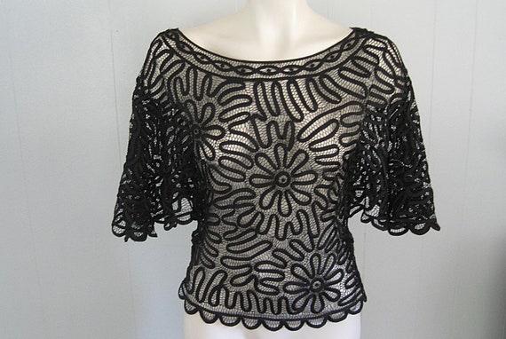 Vintage Crochet Web Black Silk Ribbon Blouse / She