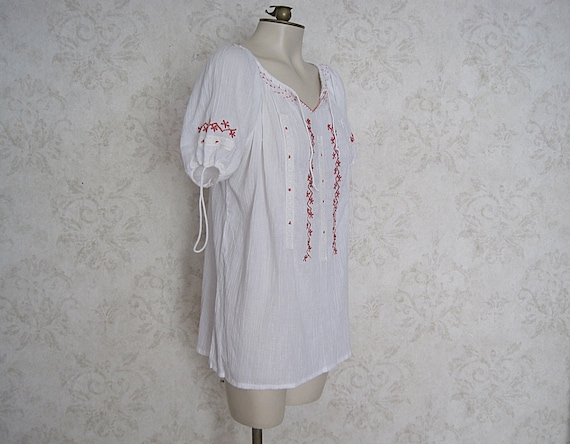 Vintage Hungarian Peasant Blouse / Embroidered Wh… - image 5