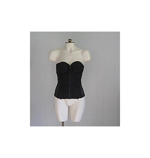 Vintage 1950s Merry Widow / 50s Black Lace Long Li