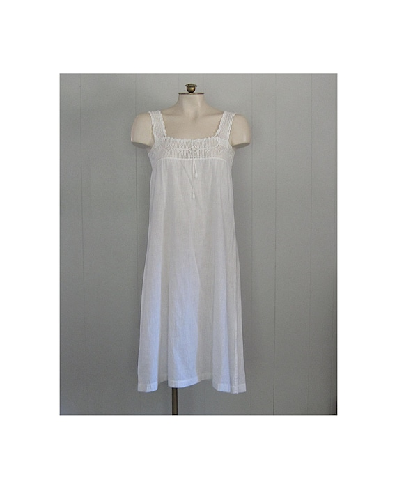 White Cotton & Crochet Lace Edwardian Slip Dress /