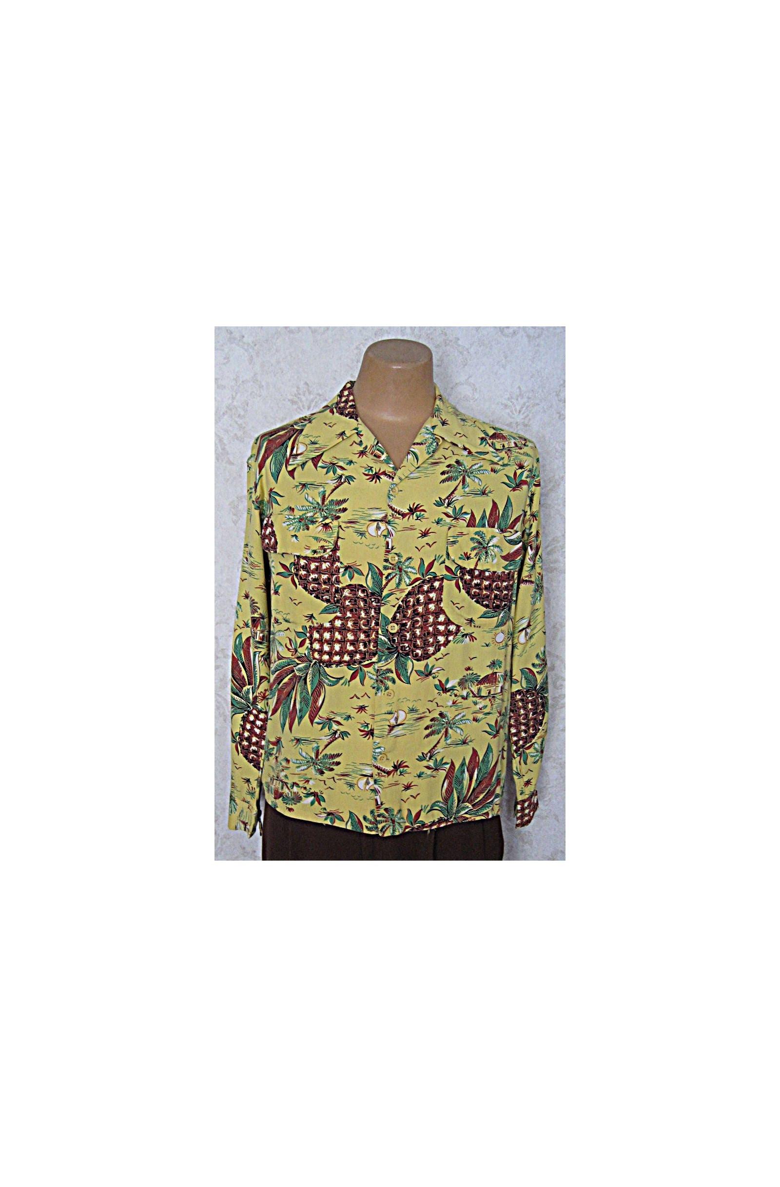 1940s Mens Ties | Wide Ties & Painted Ties Vintage 1940S 1950S Long Sleeve Rayon Hawaiian ShirtPineapple  Palm Novelty Print Mens Aloha $28.25 AT vintagedancer.com