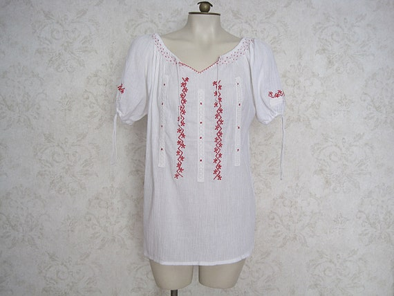Vintage Hungarian Peasant Blouse / Embroidered Wh… - image 2