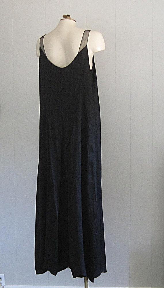 1920s Black Silk Dress / Floor-length '20s Gown W… - image 5