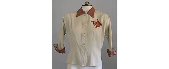 1940s Vintage Gabardine Blouse Embroidered Nautic… - image 1