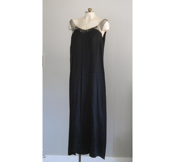 1920s Black Silk Dress / Floor-length '20s Gown Wi
