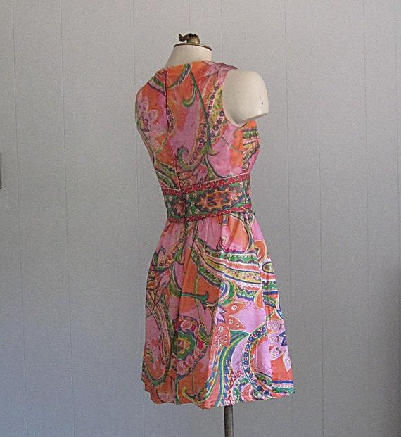 Vintage 1960s Paisley Mini Dress / Psychedellic F… - image 4