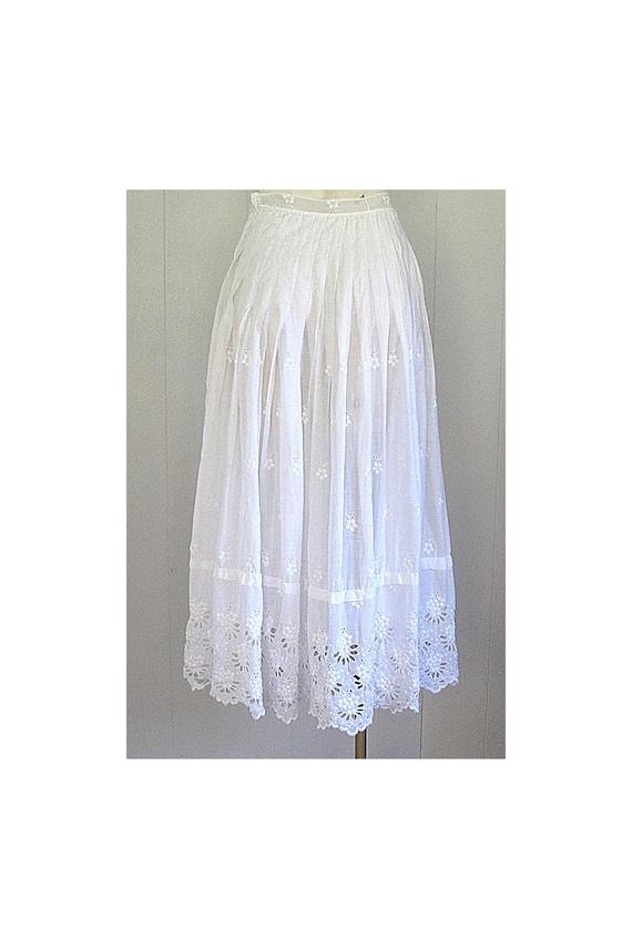 Antique White Cotton Eyelet Victorian Half Slip /