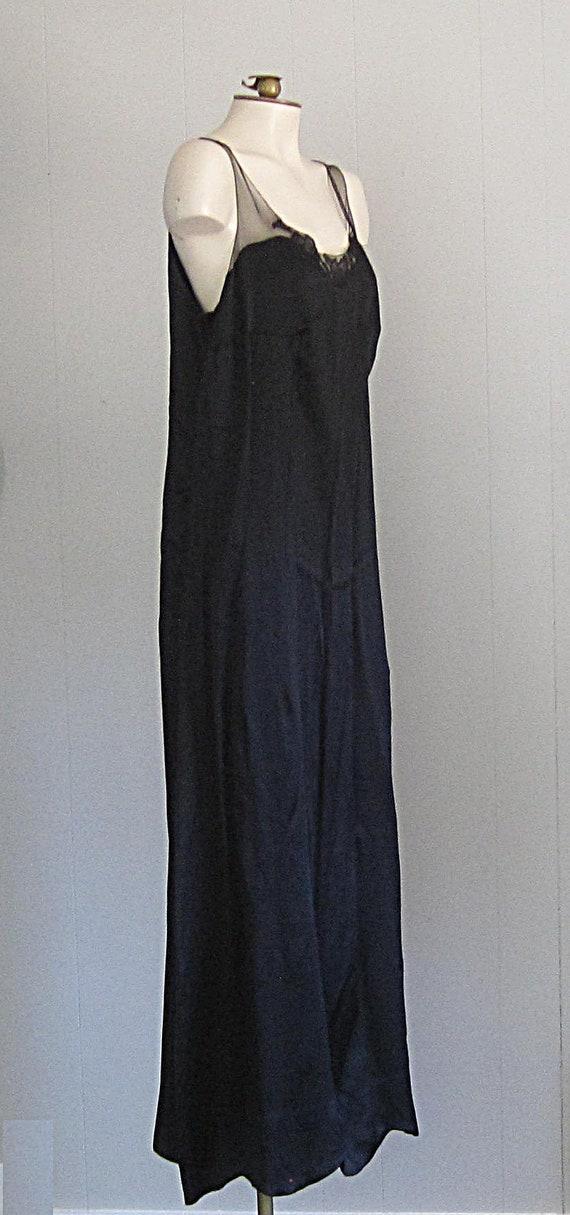 1920s Black Silk Dress / Floor-length '20s Gown W… - image 3