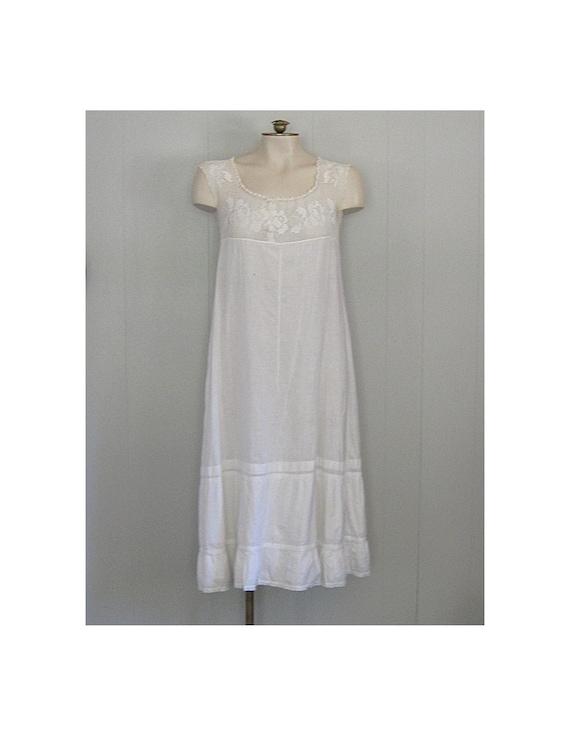 Antique White Cotton & Crochet Lace Edwardian Slip