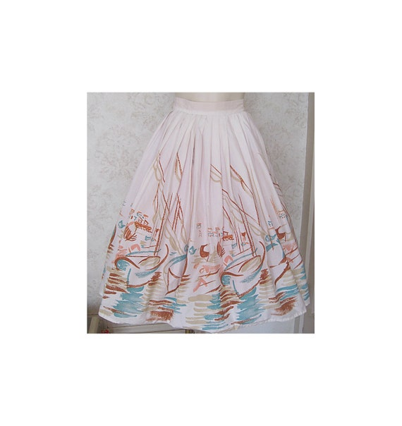 1950s Vintage Novelty Print Skirt / Full 50s Cotto