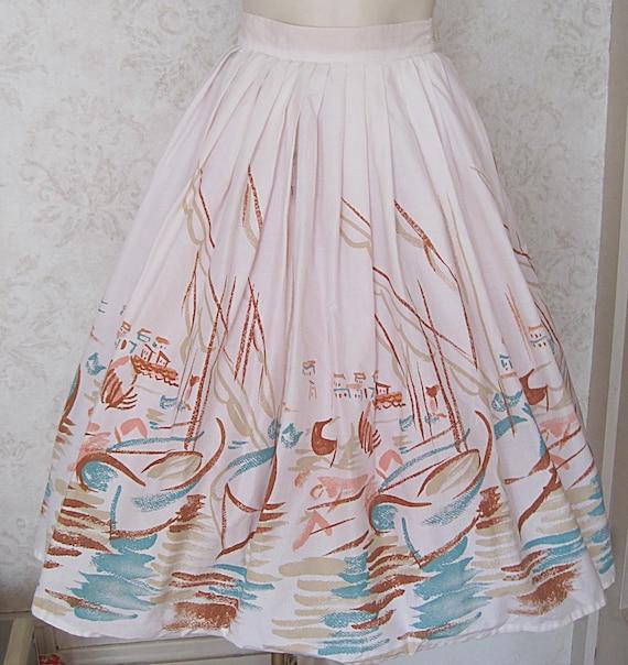 Vintage Novelty Print Skirt / Full 1950s Cotton N… - image 2