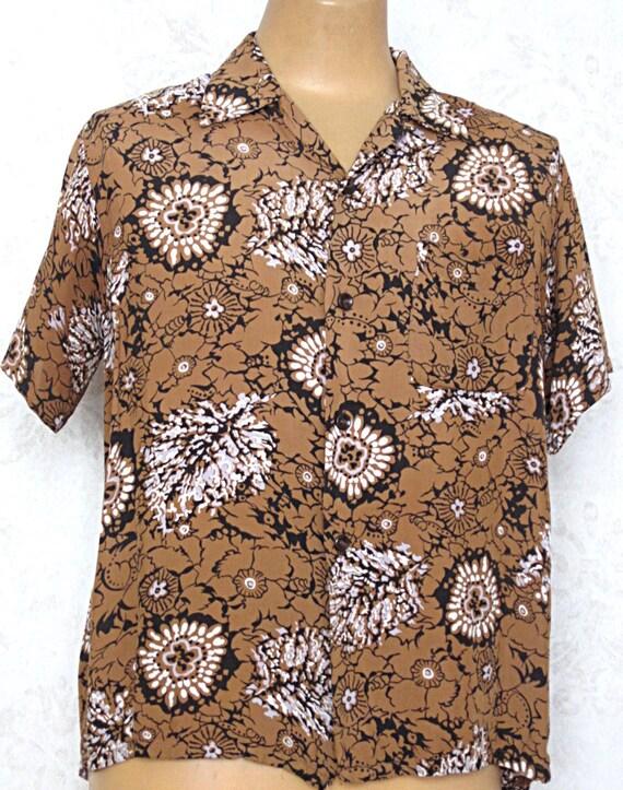 1950s Rayon Hawaiian Shirt / Vintage Floral Harper
