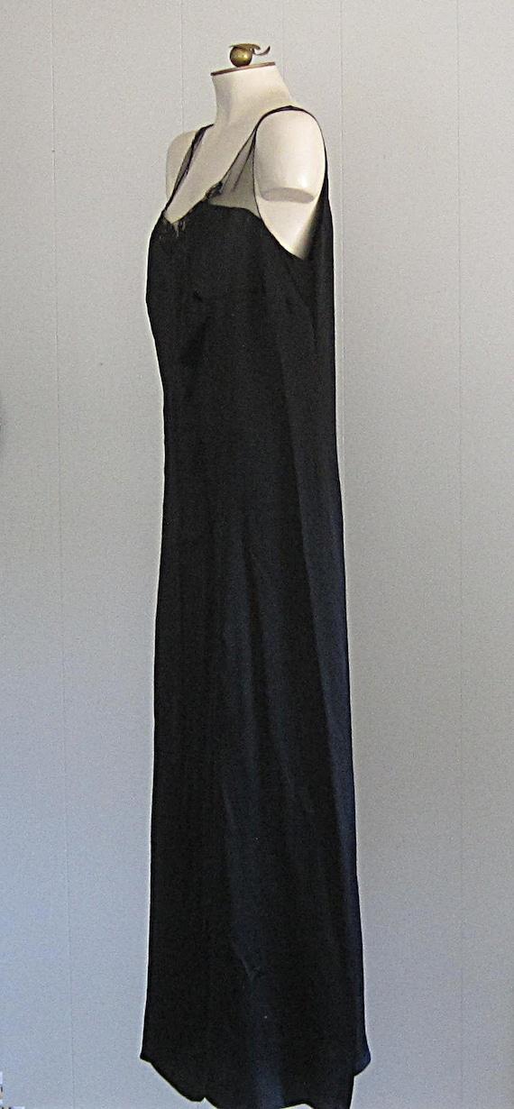 1920s Black Silk Dress / Floor-length '20s Gown W… - image 2