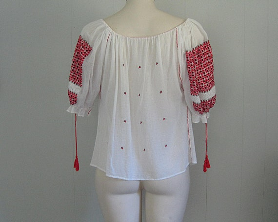 Vintage Romanian Peasant Blouse / White Red and B… - image 6