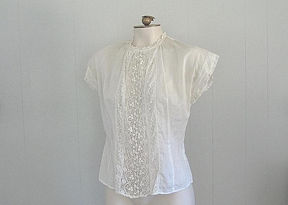 Vintage 30s White Cotton & Lace Blouse / Ultra Sof