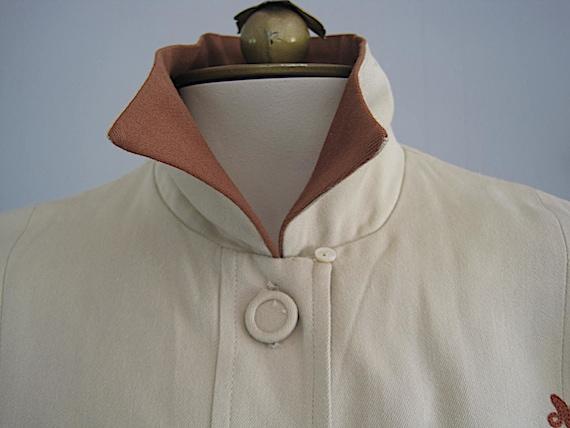 1940s Vintage Gabardine Blouse Embroidered Nautic… - image 6