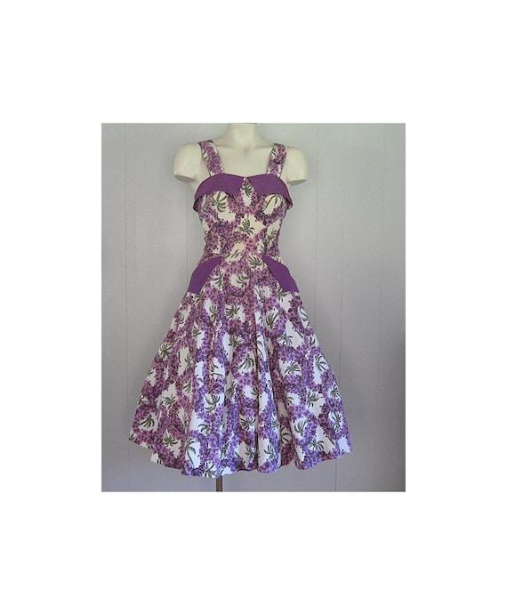 1950s Floral Cotton Sundress / Vintage Novelty Pri