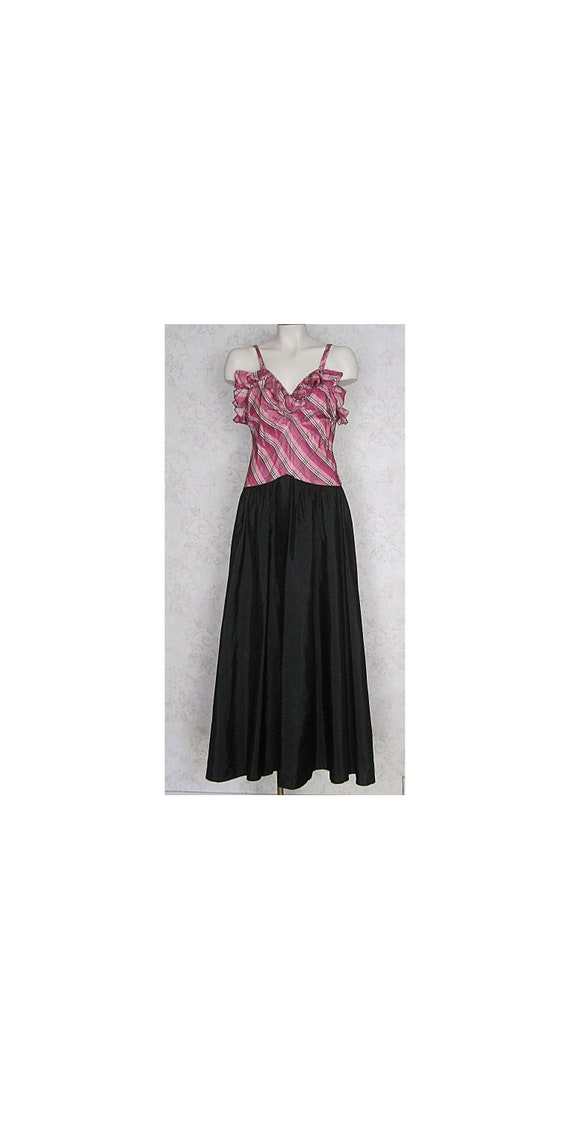1930s Vintage Evening Gown / Black White and Pink