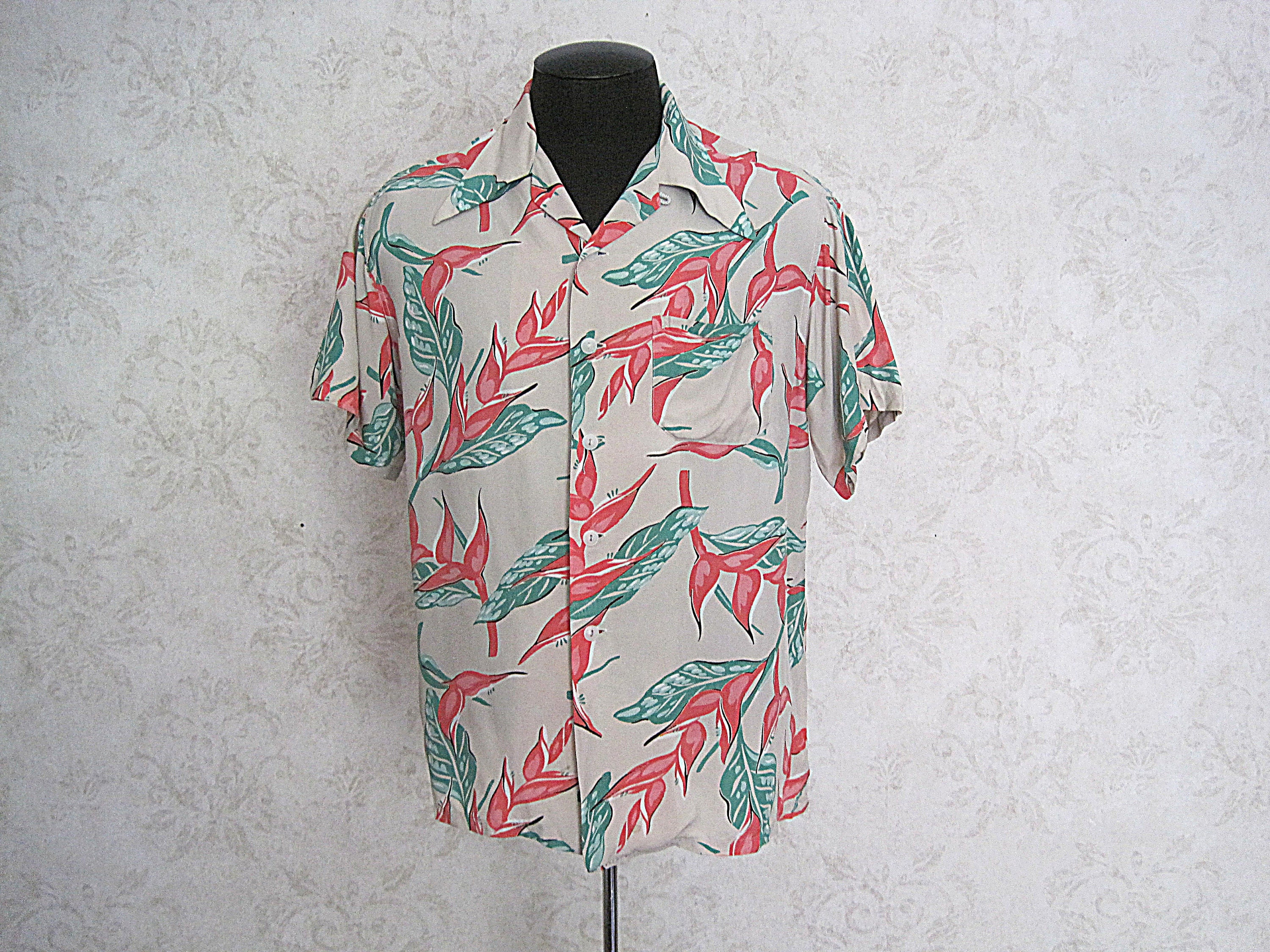 1940s Men's Shirts, Sweaters, Vests 1940S Vintage Rayon Hawaiian Shirt40S Loop Collar Made in California 30S Floral Aloha $28.25 AT vintagedancer.com
