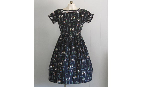 Vintage Mode O Day Novelty Print Cotton Dress / '5