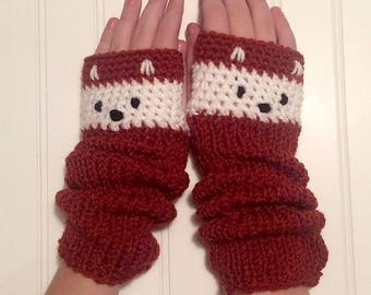 Fox Mitts - Fingerless Gloves in Rust Red and Cream