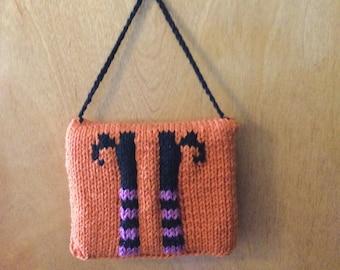Adorable Hand-Knit Halloween Door Hanger Pillow - Witch Feet and Hocus Pocus