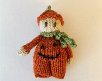 Adorable Pumpkin Boy Halloween Doll - Orange Knit Cute for Fall Decor